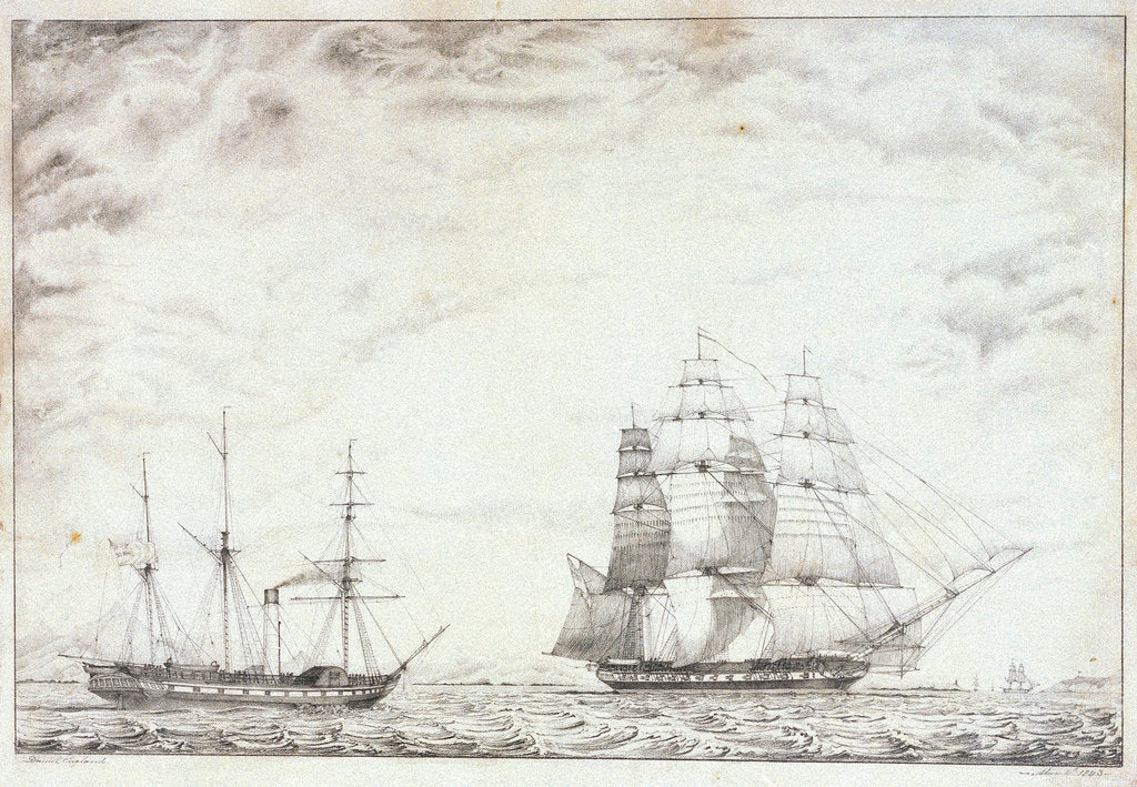 Detail of Frigate and paddle steamer by Daniel England