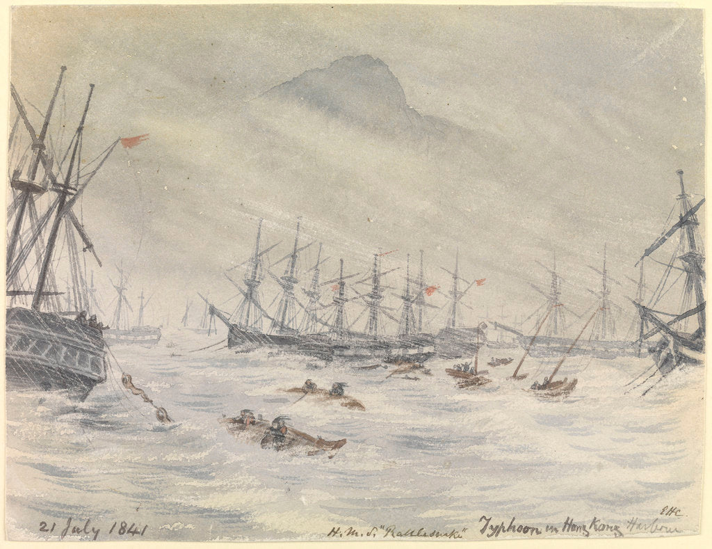 Detail of 21 July 1841, HMS 'Rattlesnake', Typhoon in Hong Kong Harbour by Edward Hodges Cree
