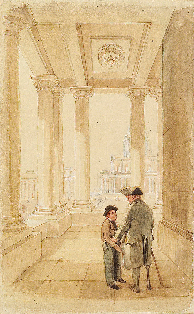 Detail of Jack and his father under the Colonnade by Clarkson Stanfield