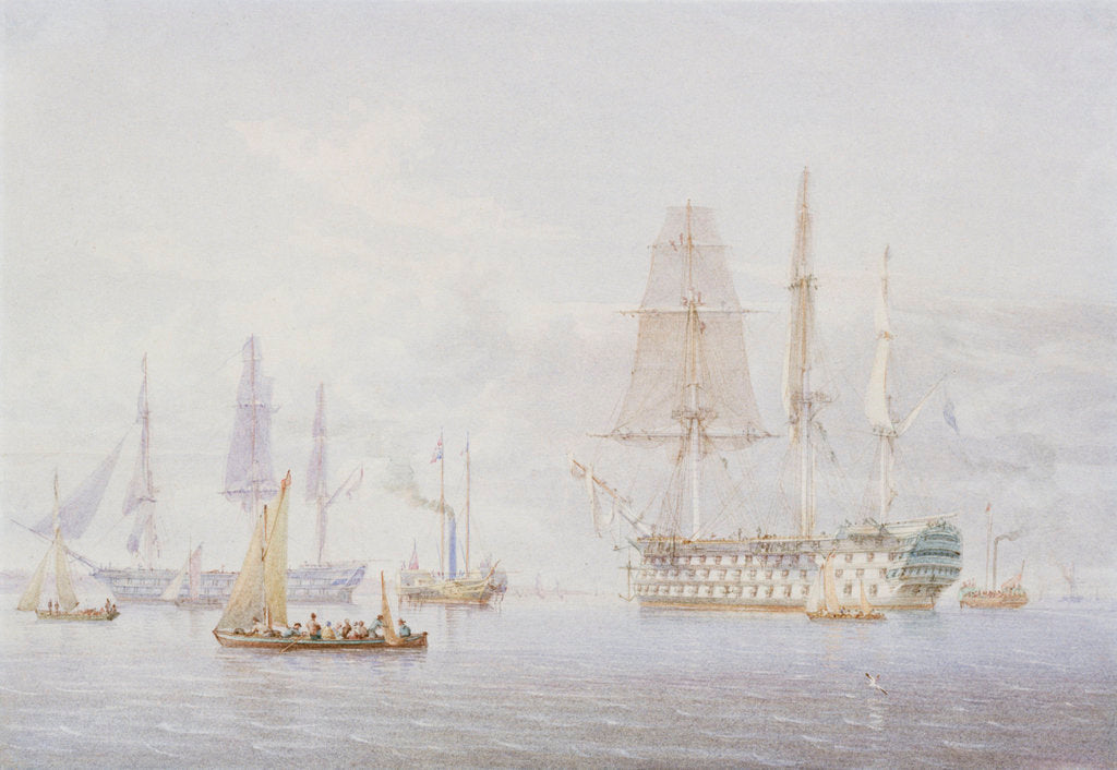 Detail of 'Vanguard', 'St Vincent' and a Royal Yacht at Spithead, 1850s by William Joy
