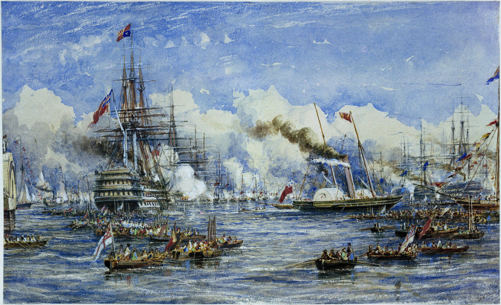 Detail of Her Majesty's visit to the Flagship, 11 August 1853, showing 'Duke of Wellington' and 'Victoria & Albert' by William Adolphus Knell
