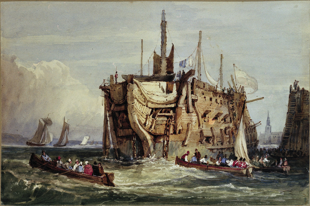 Detail of Convicts being rowed out to a prison hulk on the Thames by George Cooke