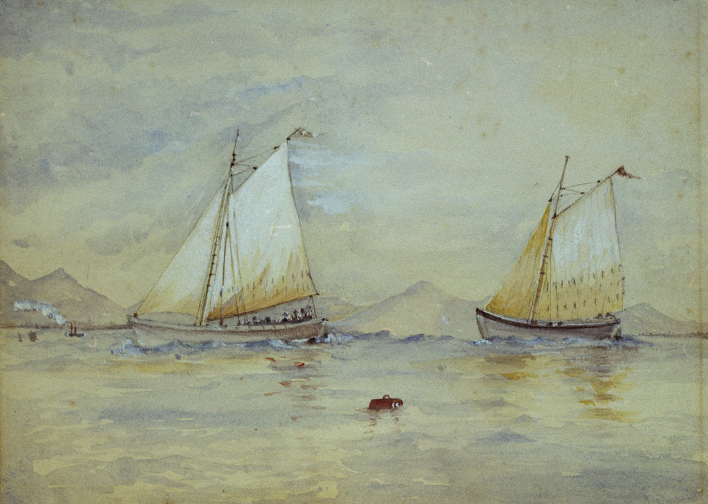 Detail of Two sailing craft off a shore by Lady Emily Frances Phipps Hornby