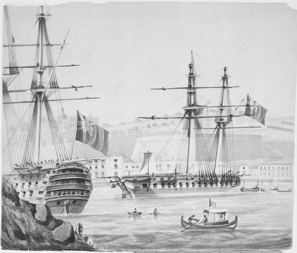 Detail of HMS 'Barham' in Malta Harbour, 25 September 1833 by James Kennett Willson