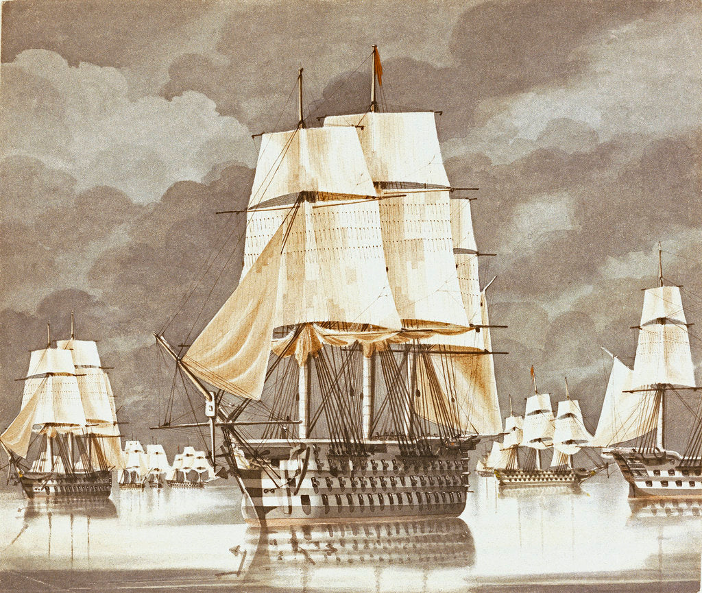 Detail of HMS 'Princess Charlotte' off Mytelene, Friday 21 September 1838 at 5 PM by James Kennett Willson