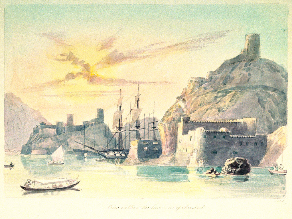 Detail of View within the harbour at Muscat by Charles Hamilton Smith