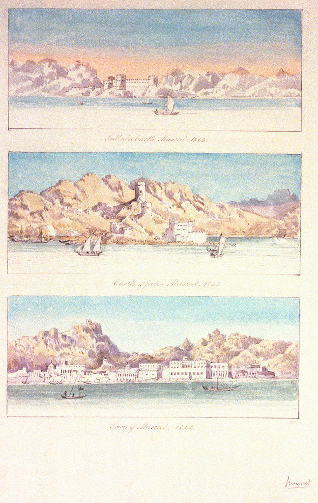 Detail of Three watercolours of Muscat by Charles Hamilton Smith