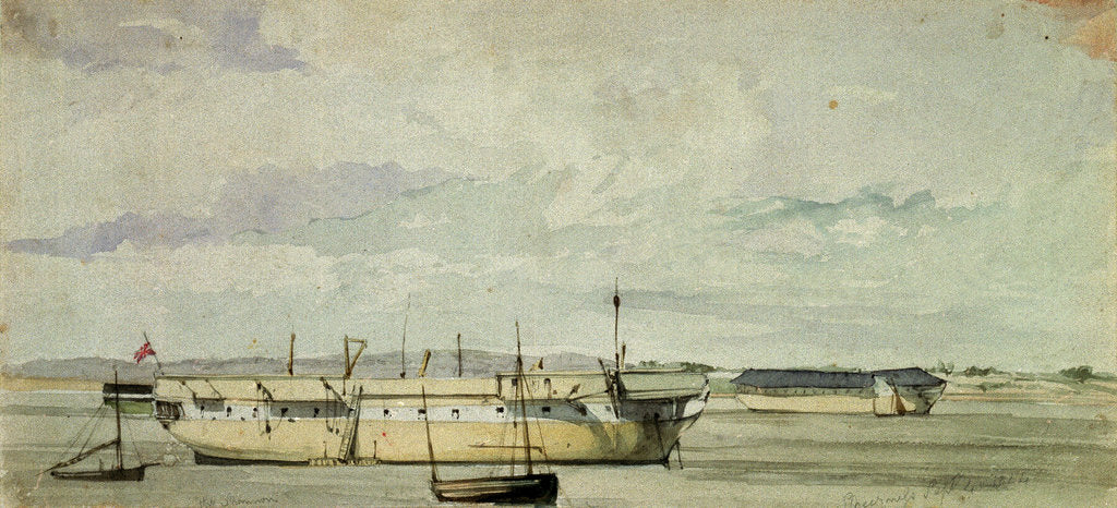 Detail of The 'Shannon' as a hulk at Sheerness, 4 September 1844 by George Pechell Mends