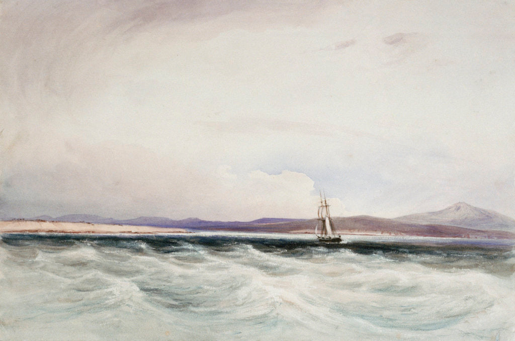 Detail of The survey ship HMS 'Beagle' running into Berkeley Sound, Falkland Islands by Conrad Martens