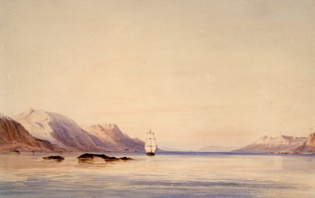 Detail of The survey ship HMS 'Beagle' in Beagle Channel, Tierra del Fuego by Conrad Martens