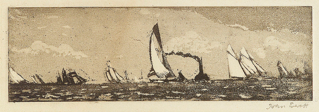 Detail of Yachts at sea, also a steamer by John Everett