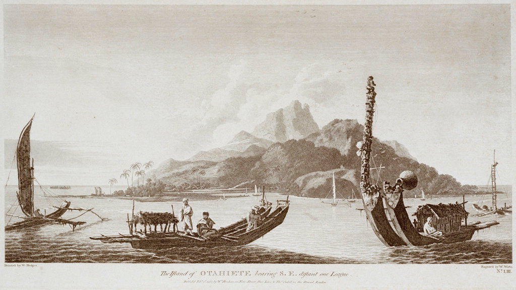 Detail of The island of Otahiete bearing southeast distant one league by William Hodges