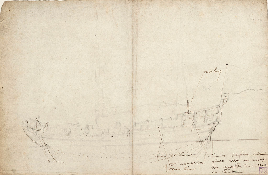 Detail of Sketch profile of a States yacht by Willem Van de Velde the Younger
