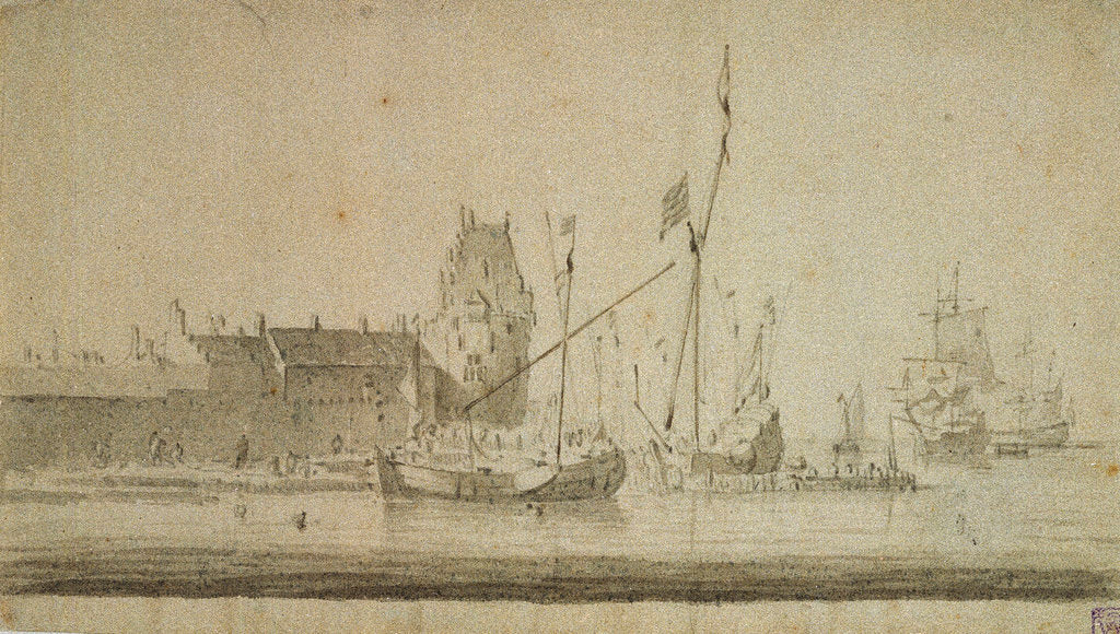 Detail of View of Enkhuizen by Willem Van de Velde the Younger