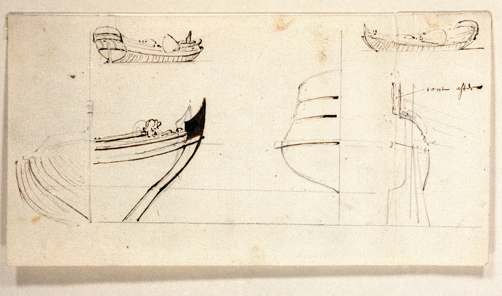 Detail of Two views of yacht and profiles of bow and stern by Willem Van de Velde the Younger