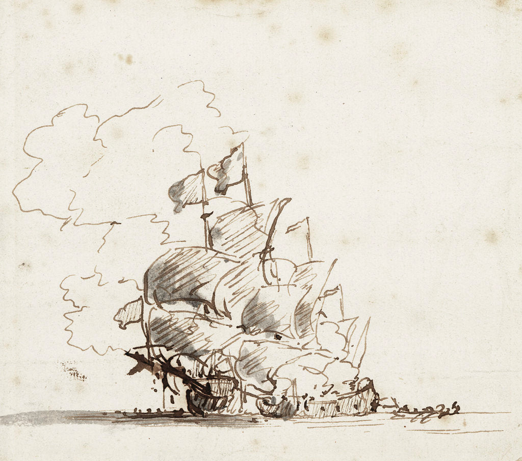 Detail of A fireship burning a flagship by Willem Van de Velde the Younger