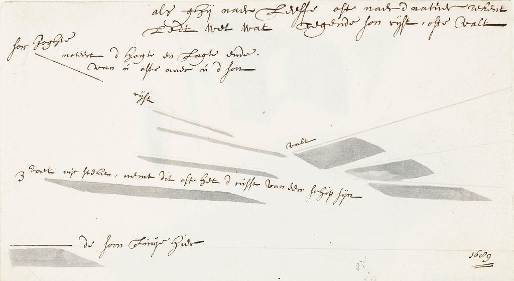 Detail of A note on the drawing of shadows by Willem Van de Velde the Younger