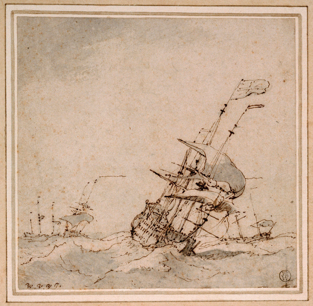 Detail of An English flagship scudding in a heavy sea by Willem Van de Velde the Younger