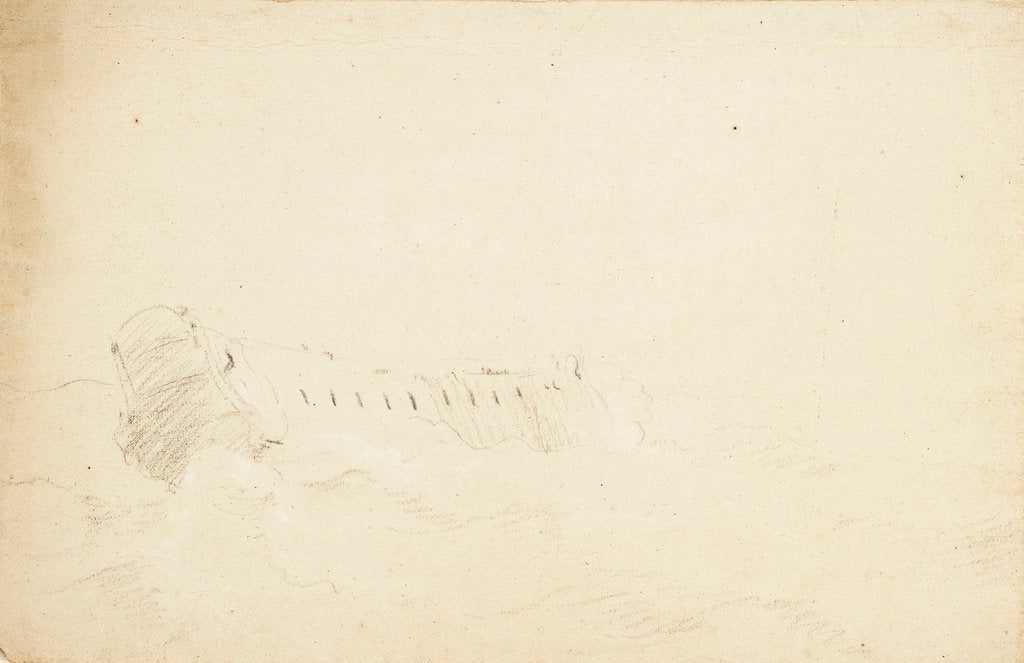 Detail of An English two-decker in a strong breeze by Willem Van de Velde the Younger
