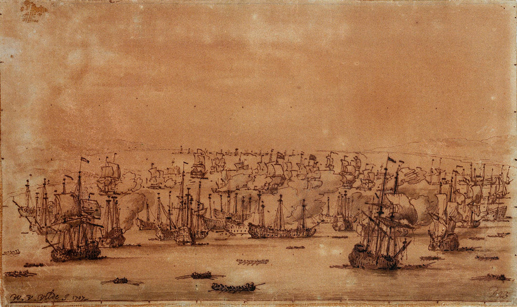 Detail of The action at Vigo from the eastward by Willem Van de Velde the Younger