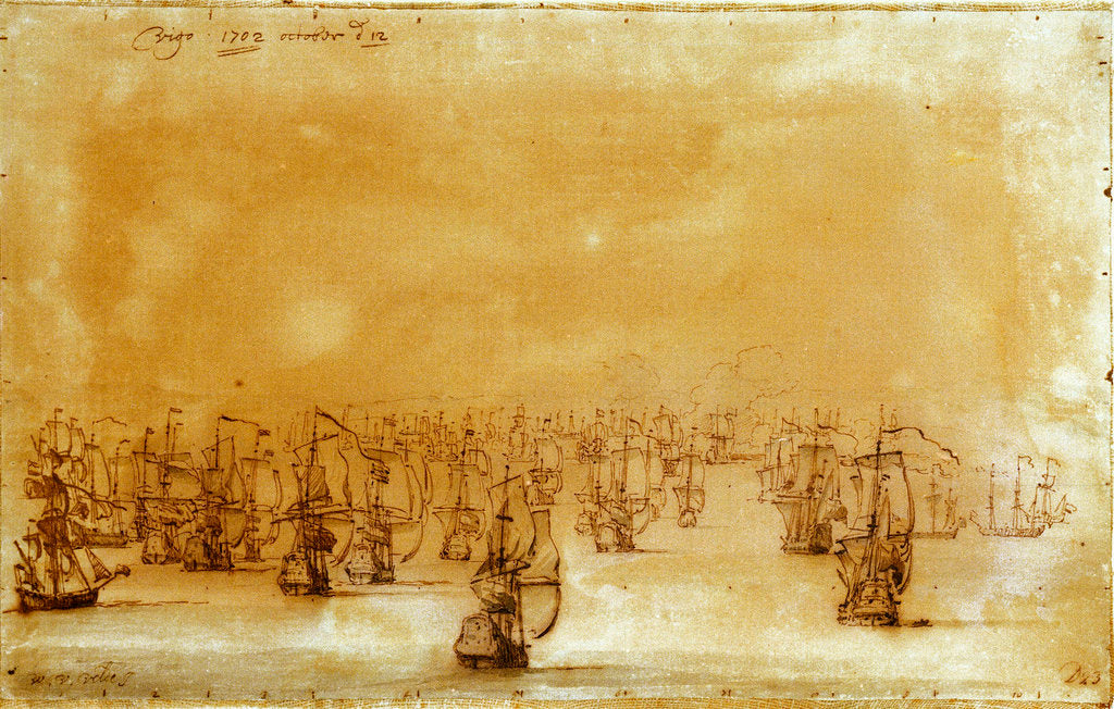 Detail of The action at Vigo from the westward by Willem Van de Velde the Younger