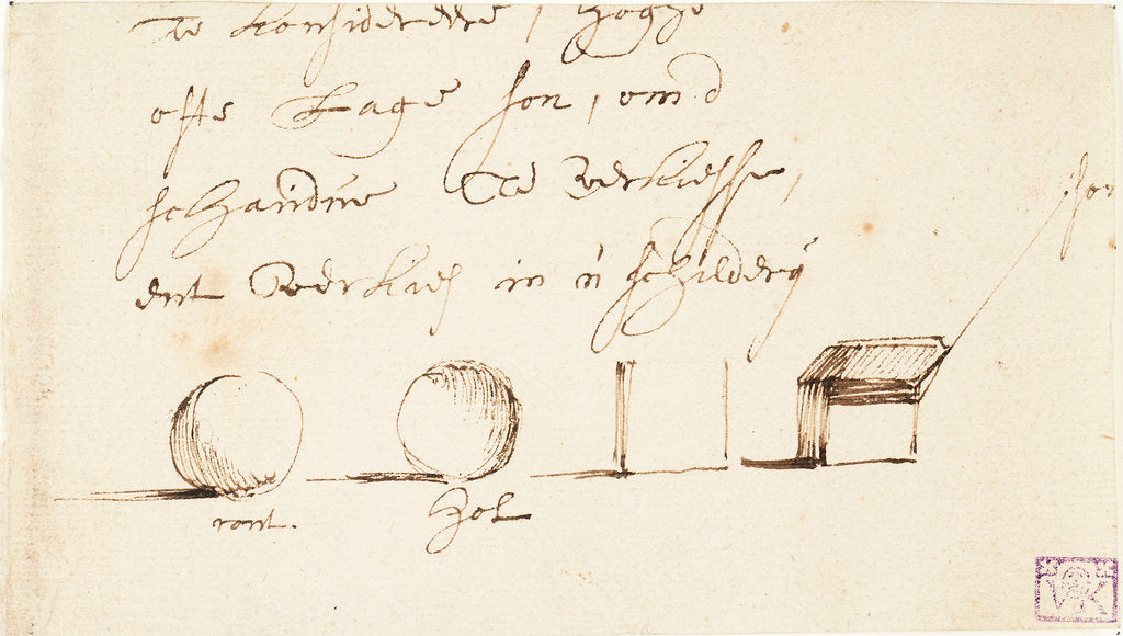 Detail of Studies of shadow on square and round objects by Willem Van de Velde the Younger