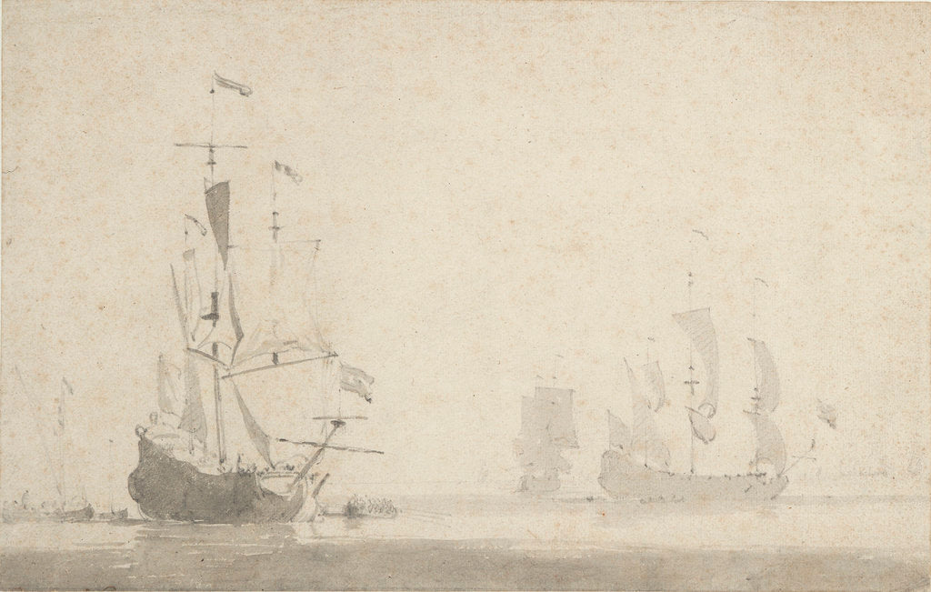 Detail of Dutch ships becalmed by Willem Van de Velde the Younger