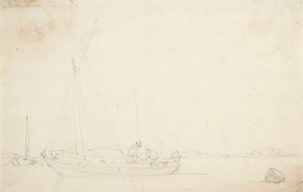 Detail of A kaag becalmed by Willem Van de Velde the Younger