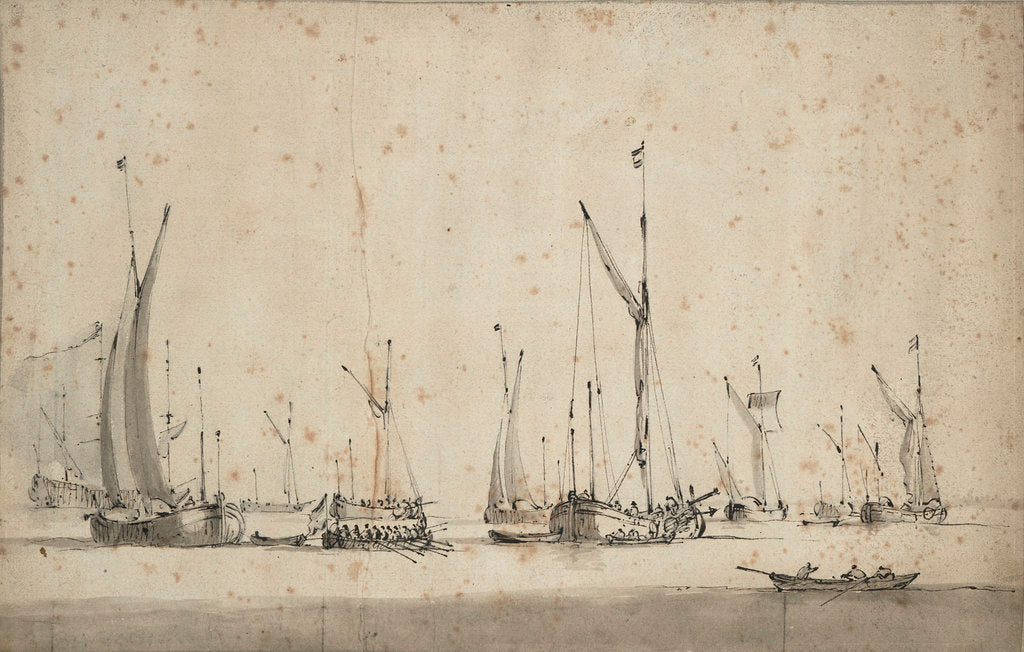 Detail of Three galjoots underway and another at anchor by Willem Van de Velde the Younger