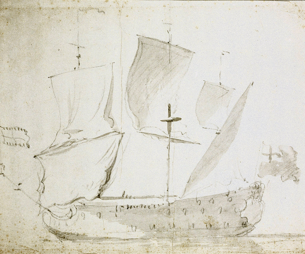 Detail of A Guinea merchant ship drying sails by Willem Van de Velde the Younger