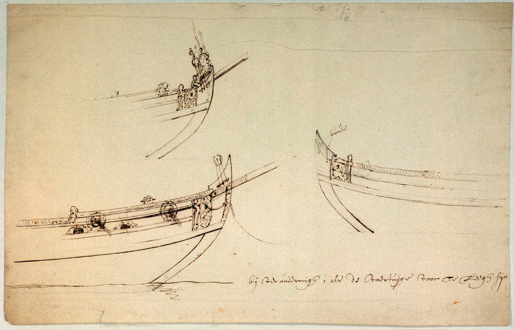 Detail of Sketch designs for the fore part of a yacht to be built for the van de Veldes by Willem Van de Velde the Younger