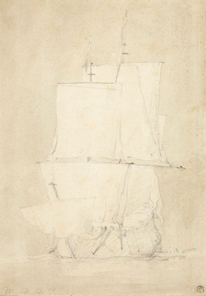Detail of An English ship becalmed by Willem Van de Velde the Younger