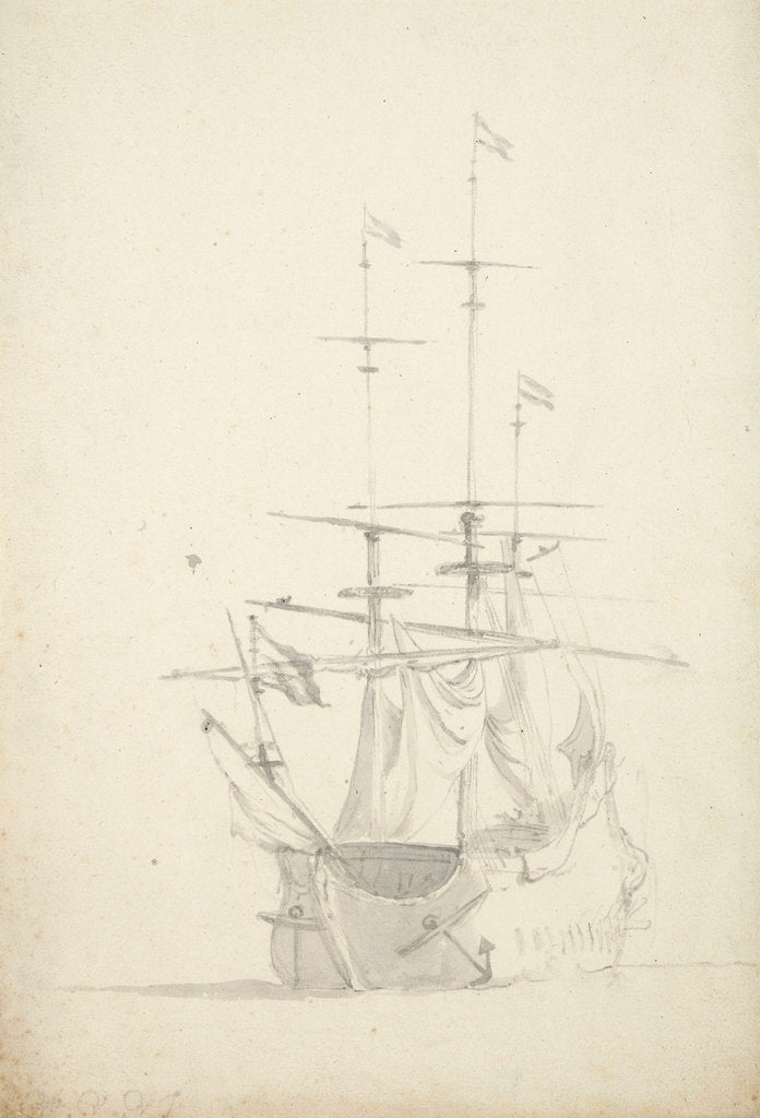 A Dutch ship bending sails by Willem Van de Velde the Younger