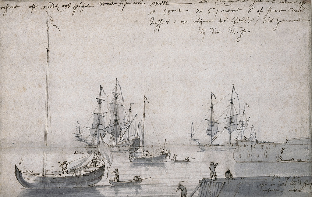 Detail of Two Dutch yachts and several ships at anchor by Willem Van de Velde the Younger