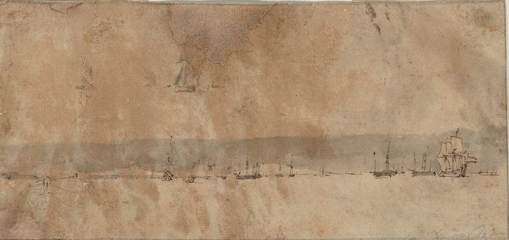 Distant vessels silhouetted against a coastline by Willem van de Velde the Elder