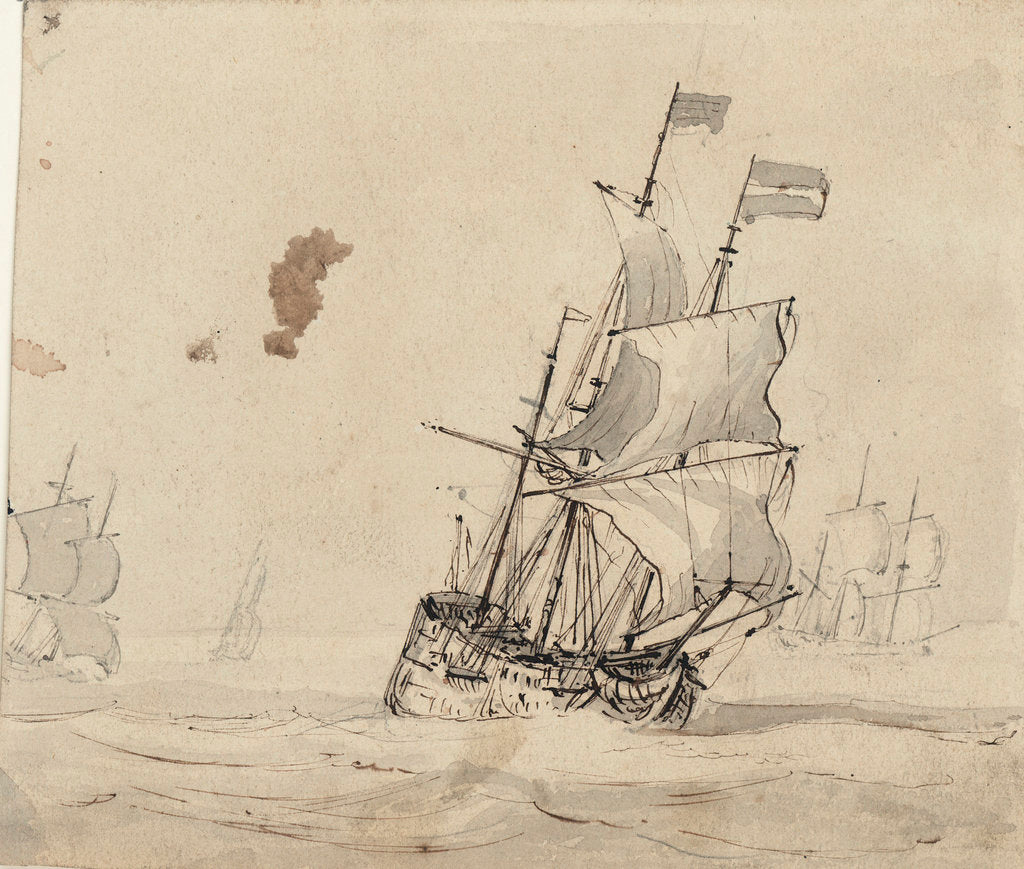 Detail of A Dutch flagship with the wind on the quarter by Willem Van de Velde the Younger