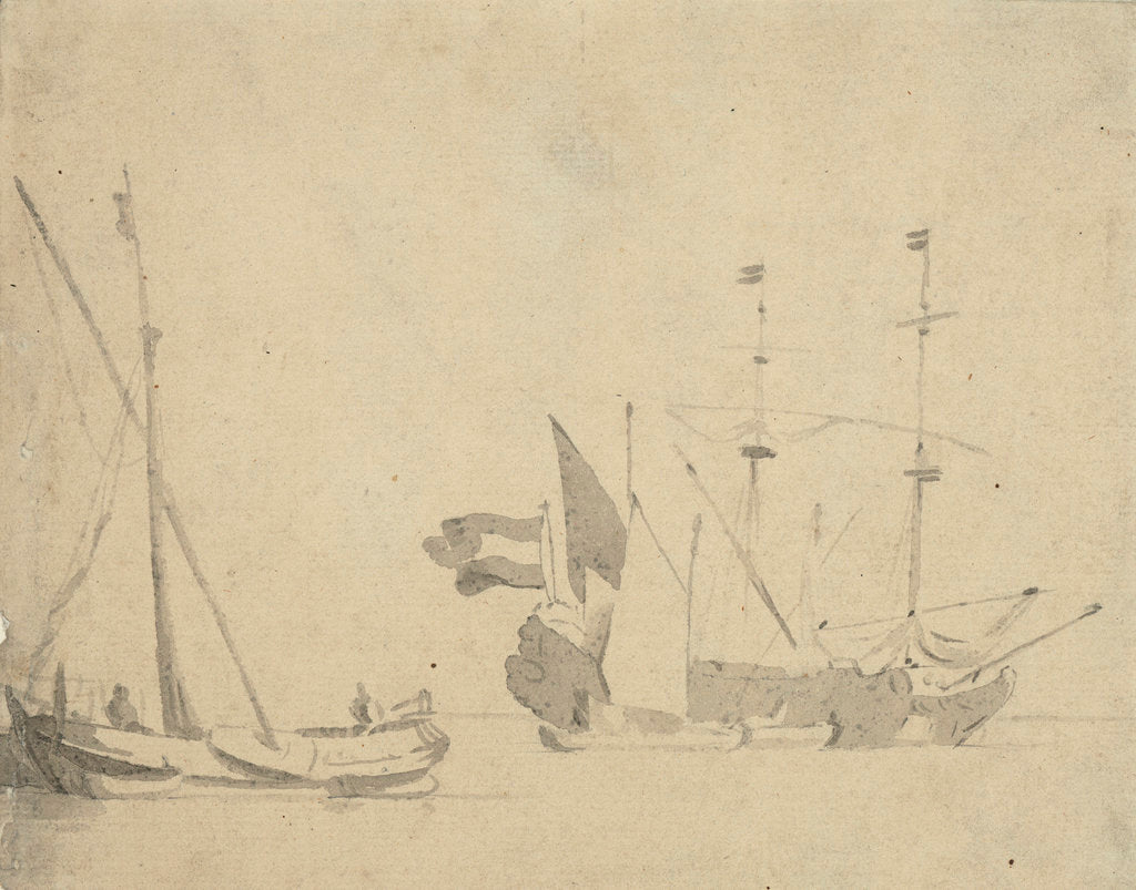 Detail of A boeier at a pier and a Dutch ship at anchor by Willem Van de Velde the Younger