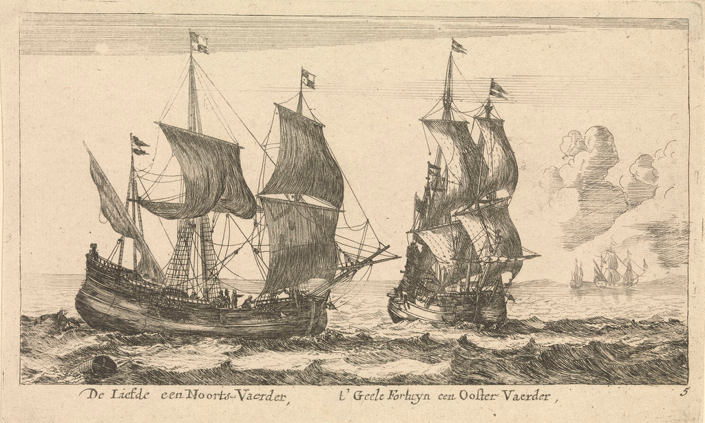 Detail of The Dutch ships 'Liefde' and 't'Geele Fortuyn' by Reinier Nooms