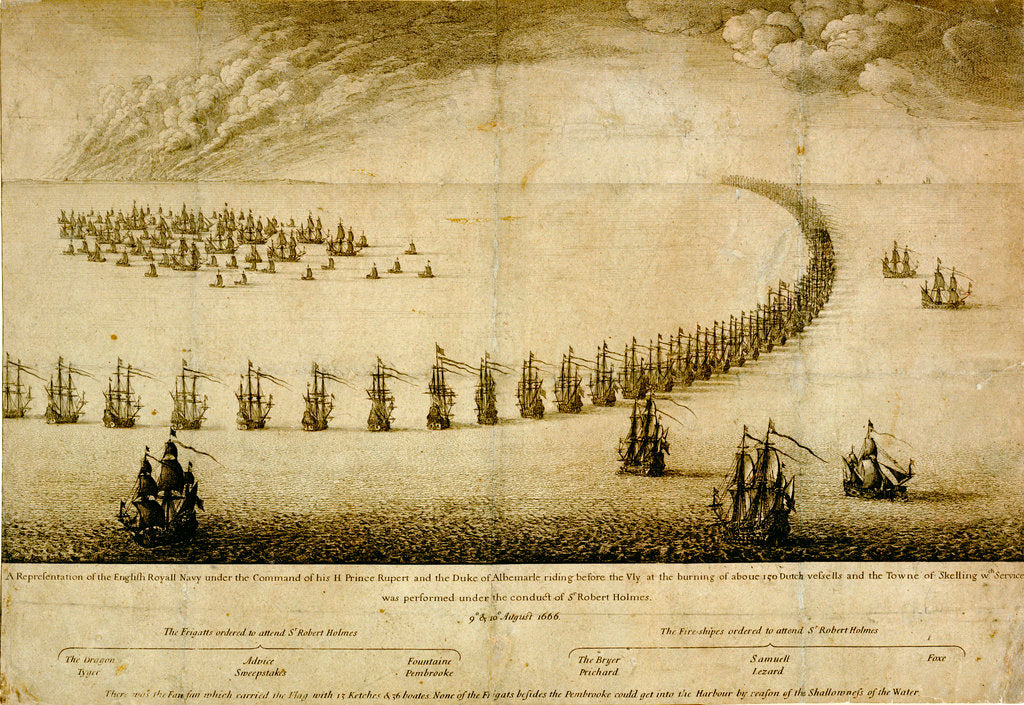 Detail of The English Navy running before the Vly, 1666 by Wenceslaus Hollar