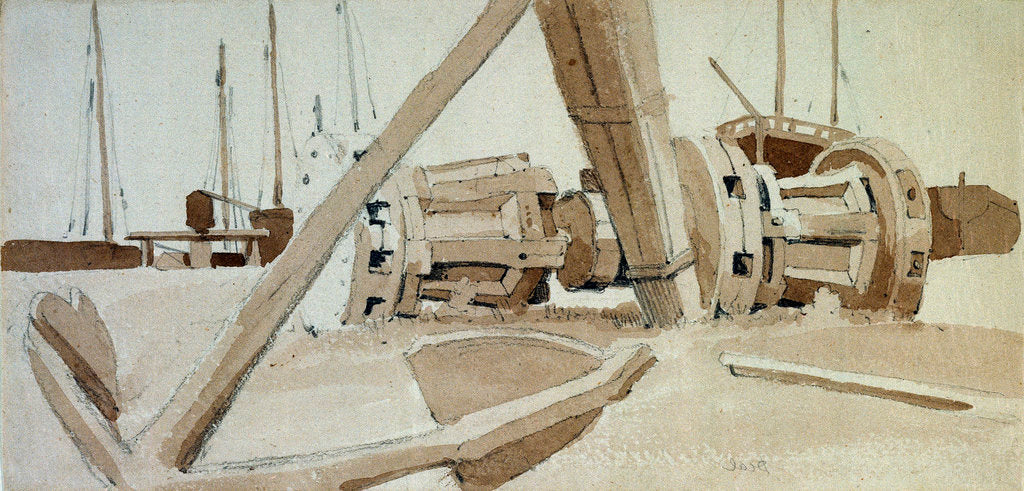 Detail of Study of an anchor and two capstans at Deal by Samuel Prout