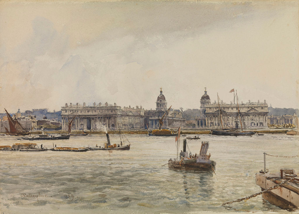 Detail of Royal Naval College, Greenwich, from the river by John Fulleylove