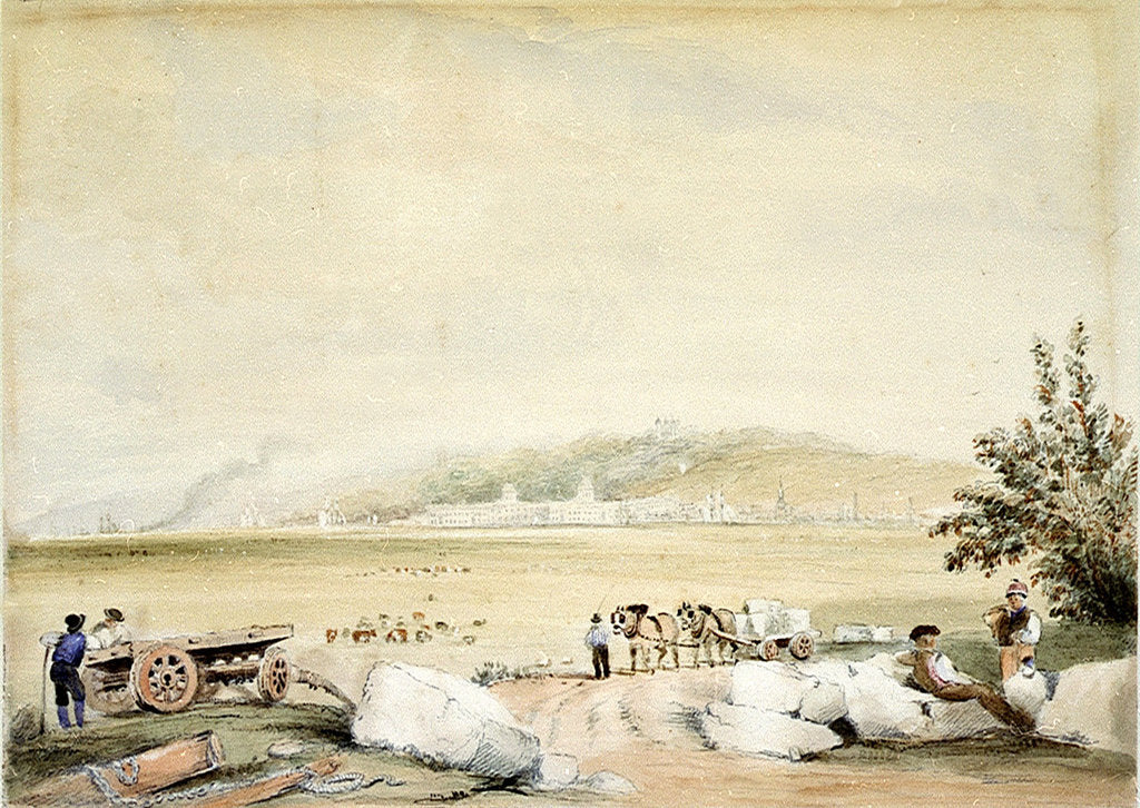 Detail of Greenwich from the Isle of Dogs by David Cox