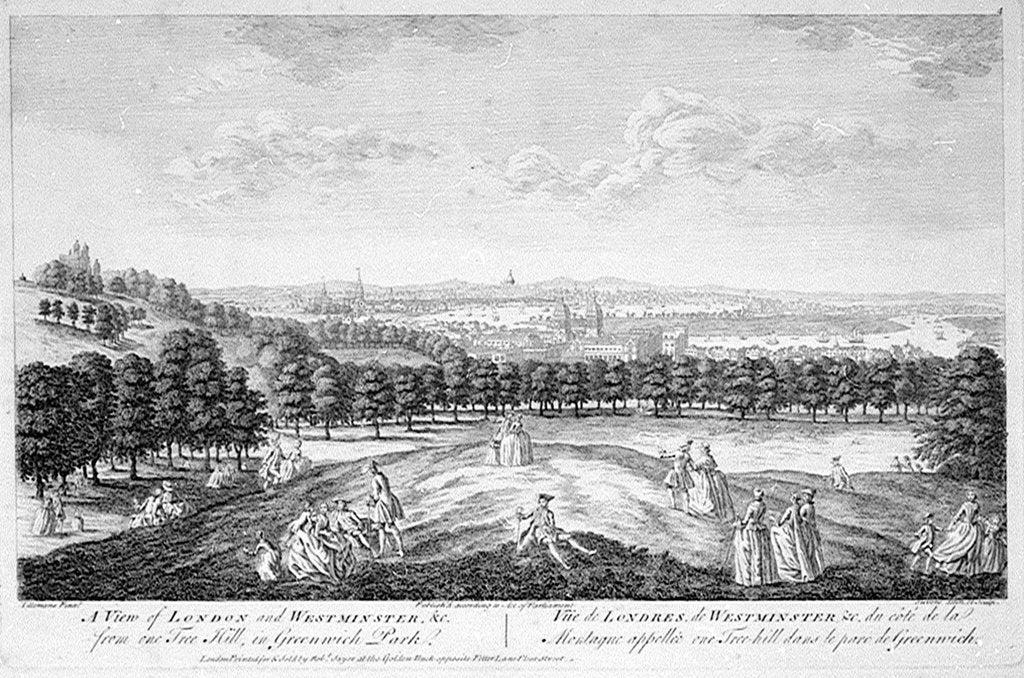 Detail of A View of London and Westminster, &c. from One Tree Hill, in Greenwich Park by Pieter Tillemans