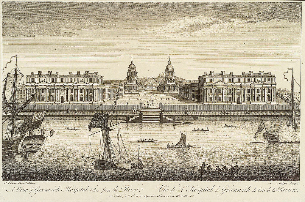 Detail of A view of Greenwich Hospital taken from the River by Millam