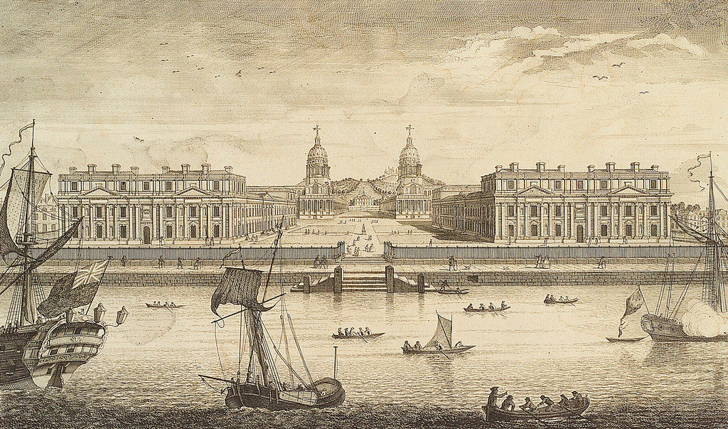Detail of A Prospect of Greenwich Hospital from the River by J. June
