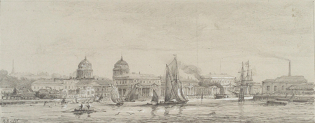 Detail of Greenwich Hospital from Blackwall reach, May 1871 by Auguste Ballin