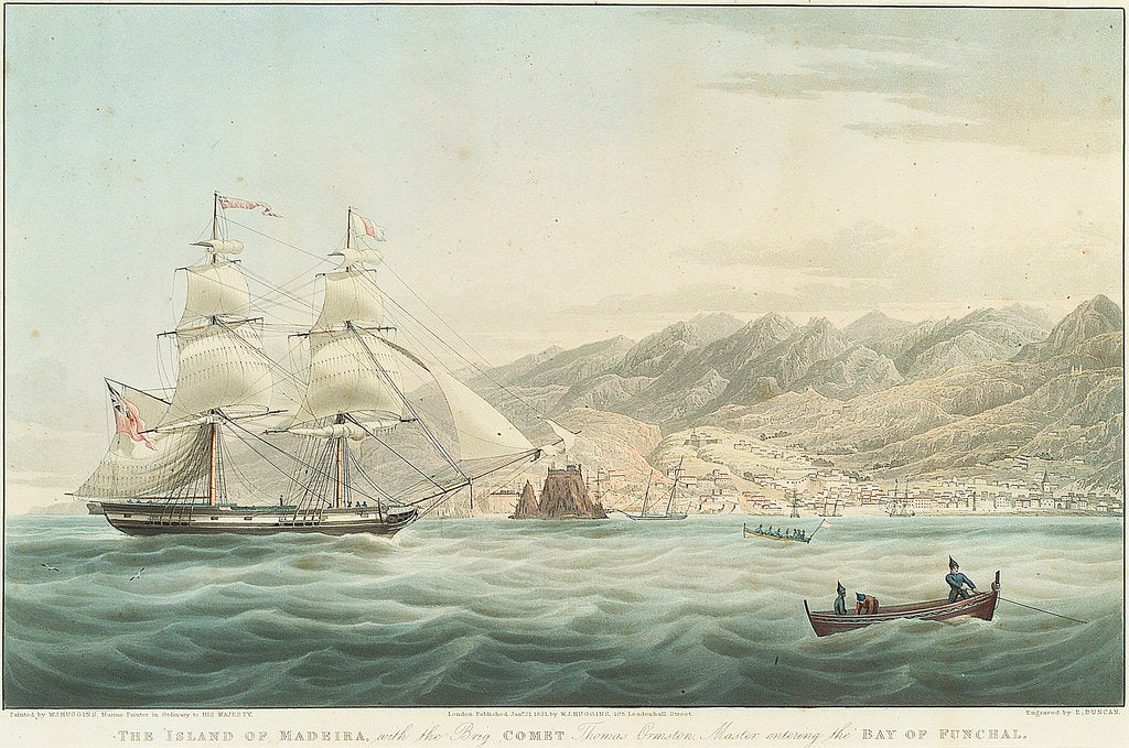 Detail of The Island of Madeira with the Brig Comet Thomas Ormston Master entering the Bay of Funchal by William John Huggins