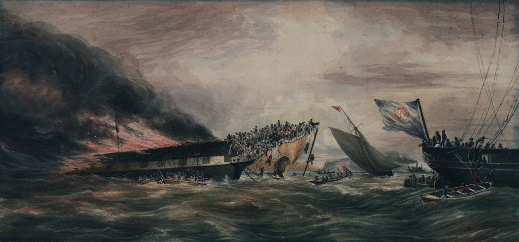 Detail of Burning of the Ocean Monarch, emigrant ship, 24 Aug 1848 by Prince de Joinville