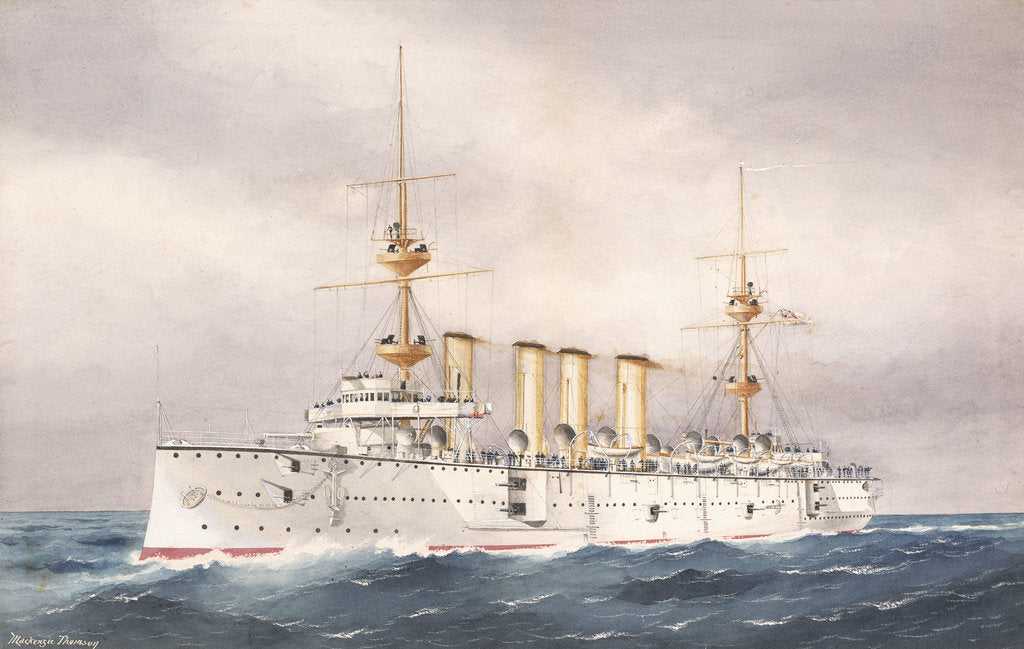 Detail of HMS 'Powerful', 1st Class cruiser launched 1895 by W. Mackenzie Thomson