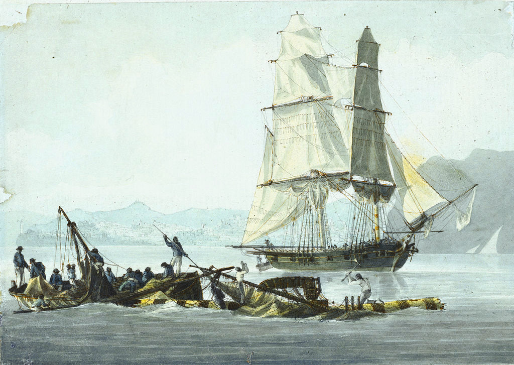 Detail of HMS sloop 'Speedy' falling in with the wreck of 'Queen Charlotte', 21 March 1800 at Leghorn by unknown